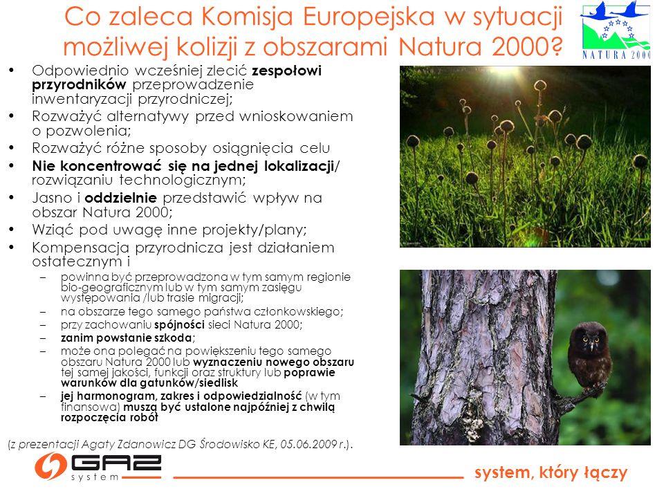 system, który łączy Co zaleca Komisja Europejska w sytuacji możliwej kolizji z obszarami Natura 2000? Odpowiednio wcześniej zlecić zespołowi przyrodni