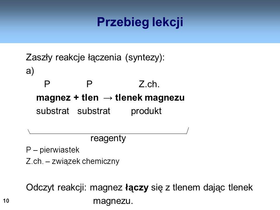 10 Przebieg lekcji Zaszły reakcje łączenia (syntezy): a) P P Z.ch. magnez + tlen tlenek magnezu substrat substrat produkt reagenty P – pierwiastek Z.c