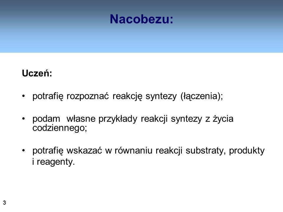 3 Nacobezu: Uczeń: potrafię rozpoznać reakcję syntezy (łączenia); podam własne przykłady reakcji syntezy z życia codziennego; potrafię wskazać w równa