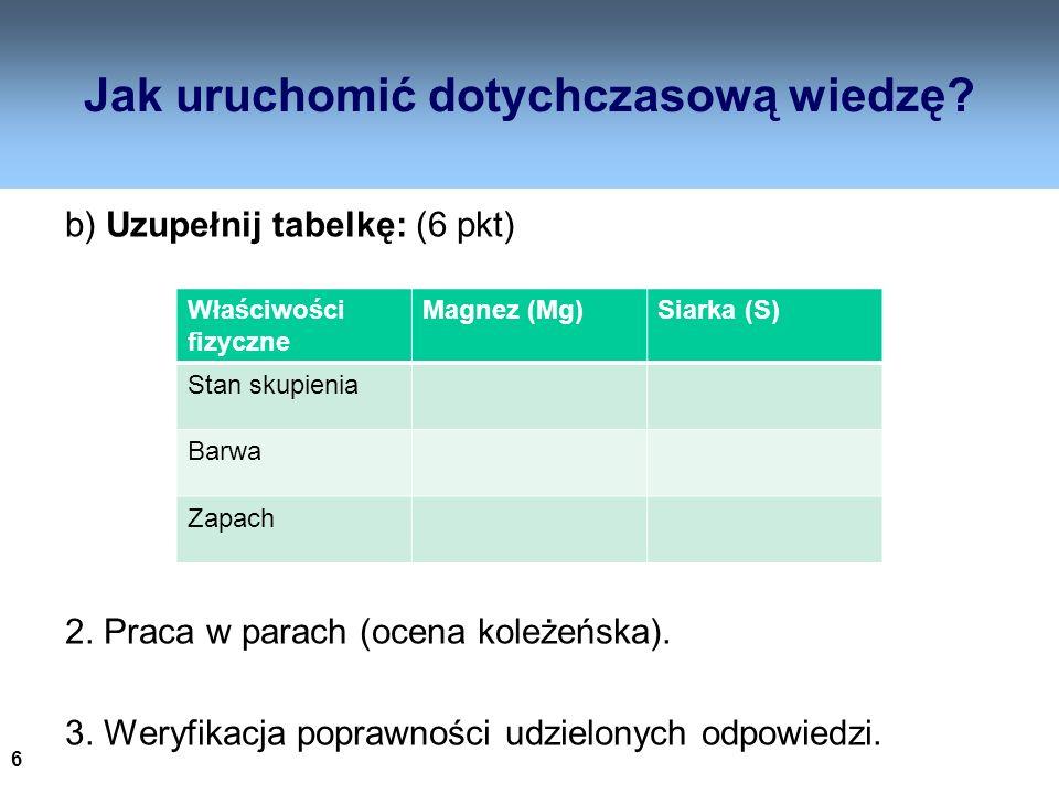 6 Jak uruchomić dotychczasową wiedzę? b) Uzupełnij tabelkę: (6 pkt) 2. Praca w parach (ocena koleżeńska). 3. Weryfikacja poprawności udzielonych odpow