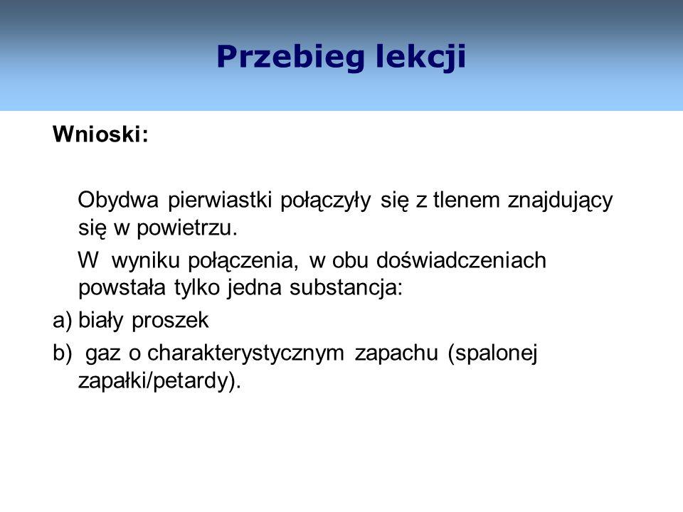 10 Przebieg lekcji Zaszły reakcje łączenia (syntezy): a) P P Z.ch.