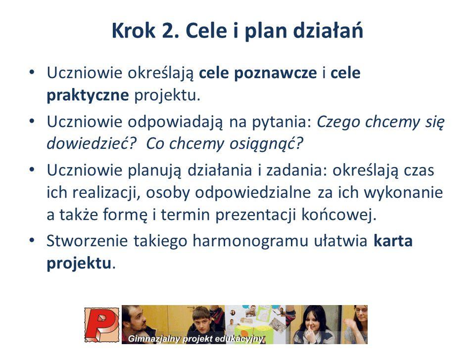 Krok 2.Cele i plan działań Uczniowie określają cele poznawcze i cele praktyczne projektu.