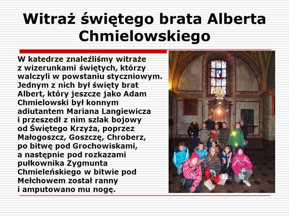Witraż świętego brata Alberta Chmielowskiego W katedrze znaleźliśmy witraże z wizerunkami świętych, którzy walczyli w powstaniu styczniowym. Jednym z