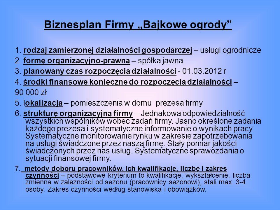 Biznesplan Firmy Bajkowe ogrody 1. rodzaj zamierzonej działalności gospodarczej – usługi ogrodnicze 2. formę organizacyjno-prawną – spółka jawna 3. pl