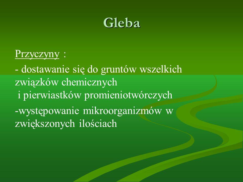 Gleba Przyczyny : - dostawanie się do gruntów wszelkich związków chemicznych i pierwiastków promieniotwórczych -występowanie mikroorganizmów w zwiększ