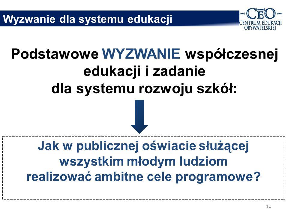 Podstawowe WYZWANIE współczesnej edukacji i zadanie dla systemu rozwoju szkół: Jak w publicznej oświacie służącej wszystkim młodym ludziom realizować ambitne cele programowe.
