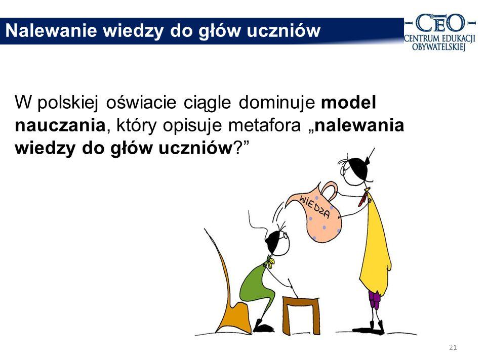 Nalewanie wiedzy do głów uczniów W polskiej oświacie ciągle dominuje model nauczania, który opisuje metafora nalewania wiedzy do głów uczniów.