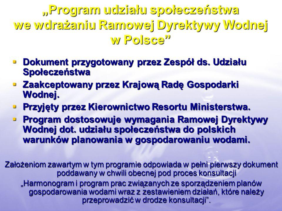 Program udziału społeczeństwa we wdrażaniu Ramowej Dyrektywy Wodnej w Polsce Dokument przygotowany przez Zespół ds. Udziału Społeczeństwa Dokument prz