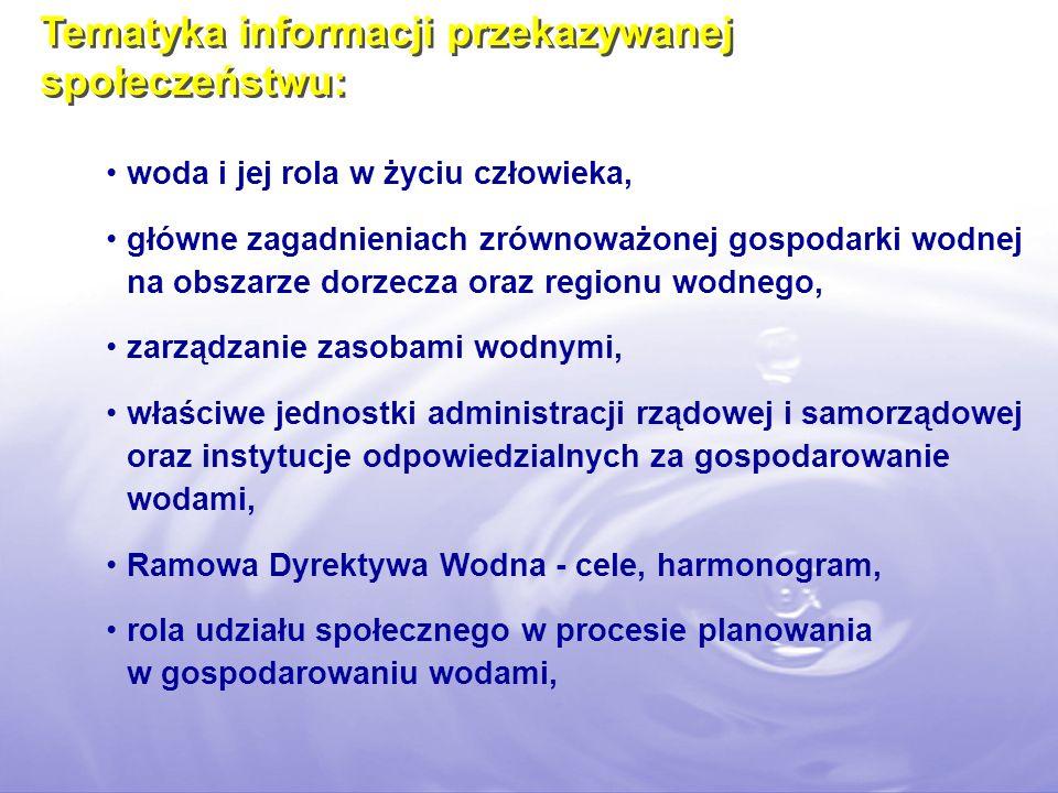 Tematyka informacji przekazywanej społeczeństwu: woda i jej rola w życiu człowieka, główne zagadnieniach zrównoważonej gospodarki wodnej na obszarze dorzecza oraz regionu wodnego, zarządzanie zasobami wodnymi, właściwe jednostki administracji rządowej i samorządowej oraz instytucje odpowiedzialnych za gospodarowanie wodami, Ramowa Dyrektywa Wodna - cele, harmonogram, rola udziału społecznego w procesie planowania w gospodarowaniu wodami,