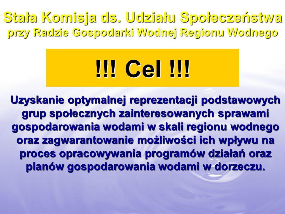 Stała Komisja ds. Udziału Społeczeństwa przy Radzie Gospodarki Wodnej Regionu Wodnego !!! Cel !!! Uzyskanie optymalnej reprezentacji podstawowych grup