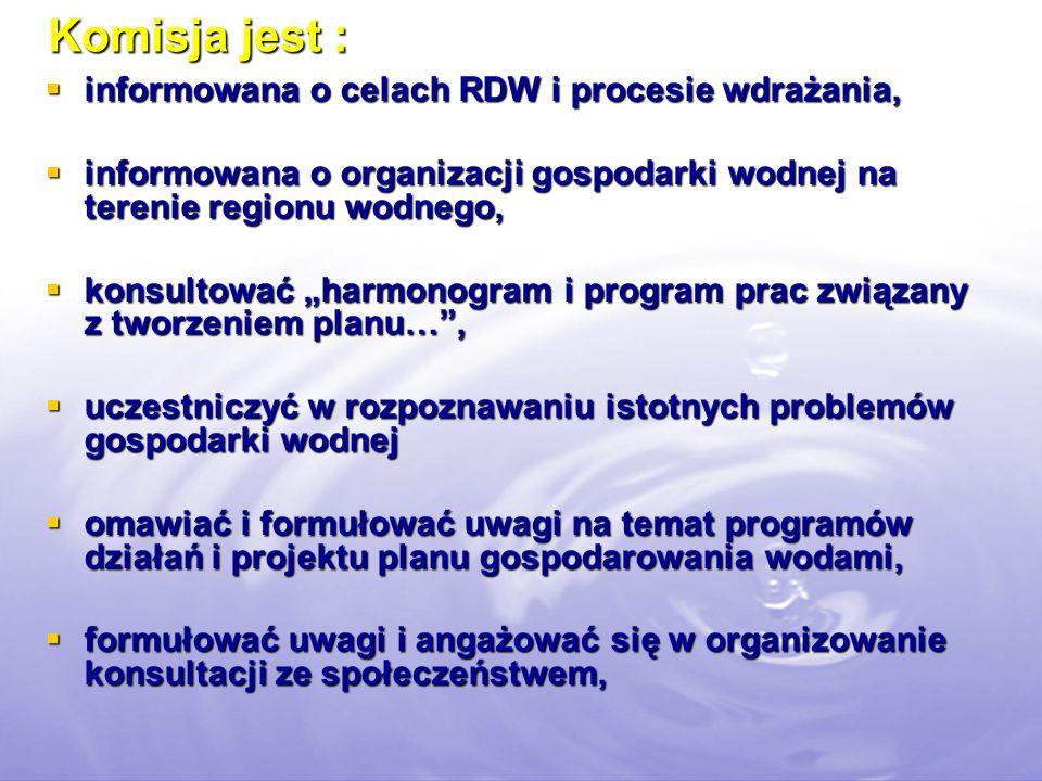 Komisja jest : informowana o celach RDW i procesie wdrażania, informowana o celach RDW i procesie wdrażania, informowana o organizacji gospodarki wodnej na terenie regionu wodnego, informowana o organizacji gospodarki wodnej na terenie regionu wodnego, konsultować harmonogram i program prac związany z tworzeniem planu…, konsultować harmonogram i program prac związany z tworzeniem planu…, uczestniczyć w rozpoznawaniu istotnych problemów gospodarki wodnej uczestniczyć w rozpoznawaniu istotnych problemów gospodarki wodnej omawiać i formułować uwagi na temat programów działań i projektu planu gospodarowania wodami, omawiać i formułować uwagi na temat programów działań i projektu planu gospodarowania wodami, formułować uwagi i angażować się w organizowanie konsultacji ze społeczeństwem, formułować uwagi i angażować się w organizowanie konsultacji ze społeczeństwem,