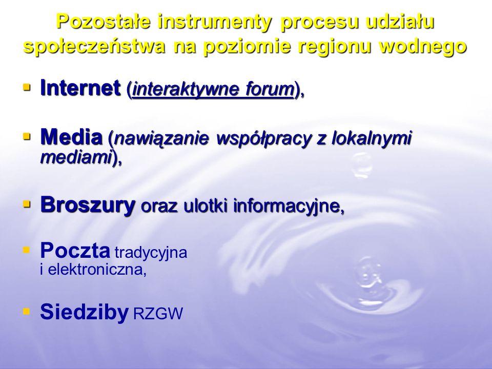 Pozostałe instrumenty procesu udziału społeczeństwa na poziomie regionu wodnego Internet (interaktywne forum), Internet (interaktywne forum), Media (n