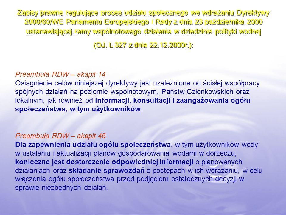 Zapisy prawne regulujące proces udziału społecznego we wdrażaniu Dyrektywy 2000/60/WE Parlamentu Europejskiego i Rady z dnia 23 października 2000 usta