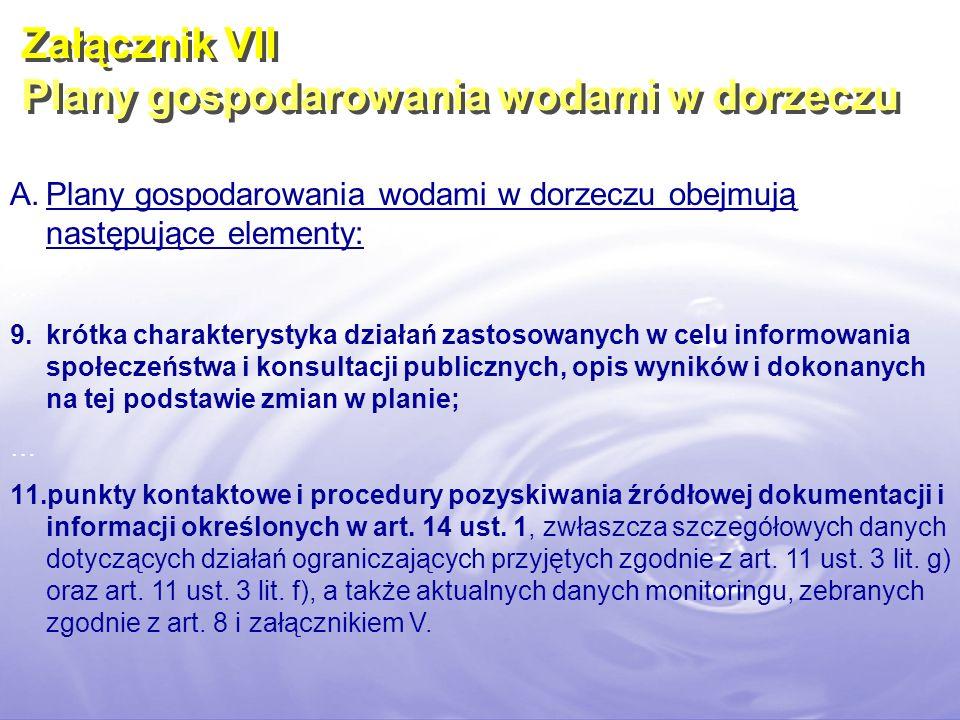 A.Plany gospodarowania wodami w dorzeczu obejmują następujące elementy: … 9.krótka charakterystyka działań zastosowanych w celu informowania społeczeń