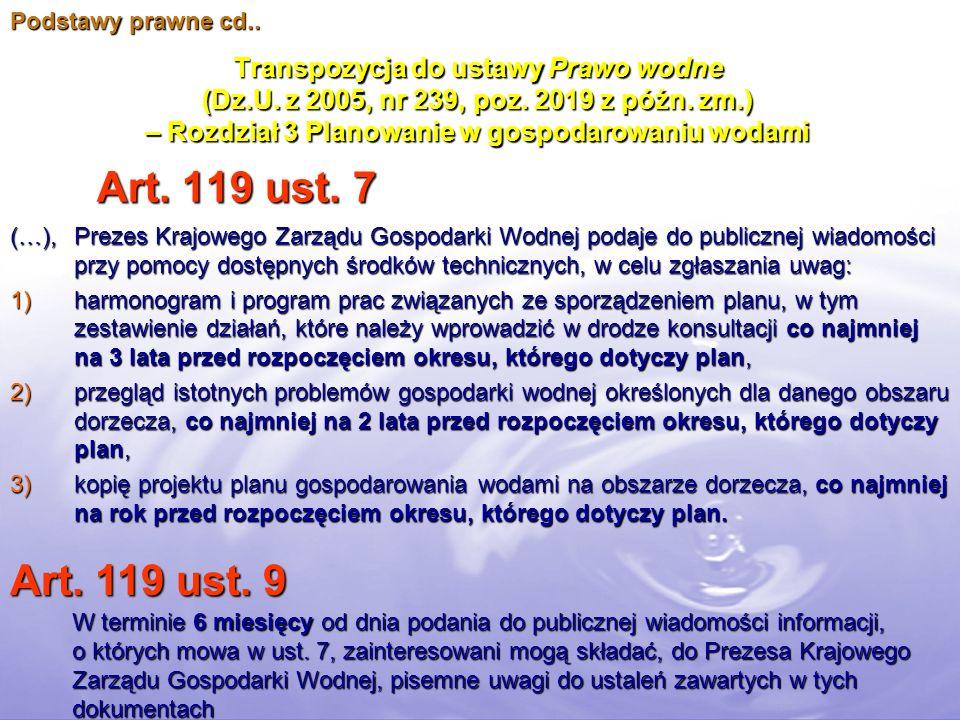 Transpozycja do ustawy Prawo wodne (Dz.U. z 2005, nr 239, poz. 2019 z późn. zm.) – Rozdział 3 Planowanie w gospodarowaniu wodami Art. 119 ust. 7 Art.