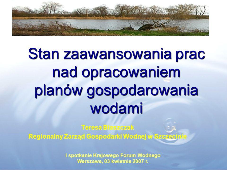 Stan zaawansowania prac nad opracowaniem planów gospodarowania wodami I spotkanie Krajowego Forum Wodnego Warszawa, 03 kwietnia 2007 r. Teresa Błaszcz