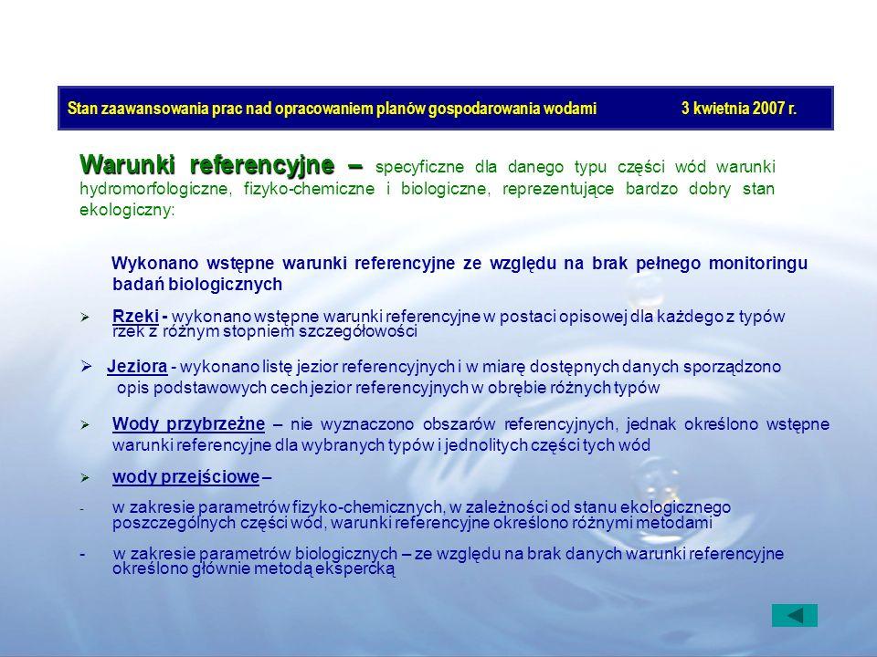 Stan zaawansowania prac nad opracowaniem planów gospodarowania wodami3 kwietnia 2007 r. Wykonano wstępne warunki referencyjne ze względu na brak pełne