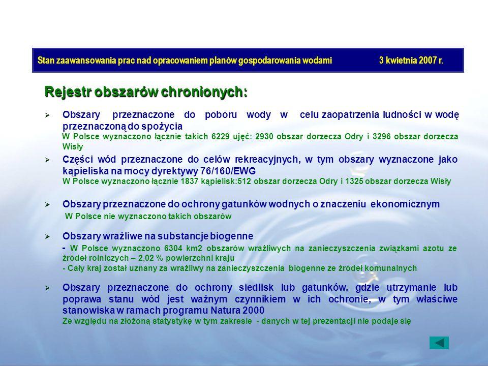 Stan zaawansowania prac nad opracowaniem planów gospodarowania wodami3 kwietnia 2007 r. Rejestr obszarów chronionych: Obszary przeznaczone do poboru w
