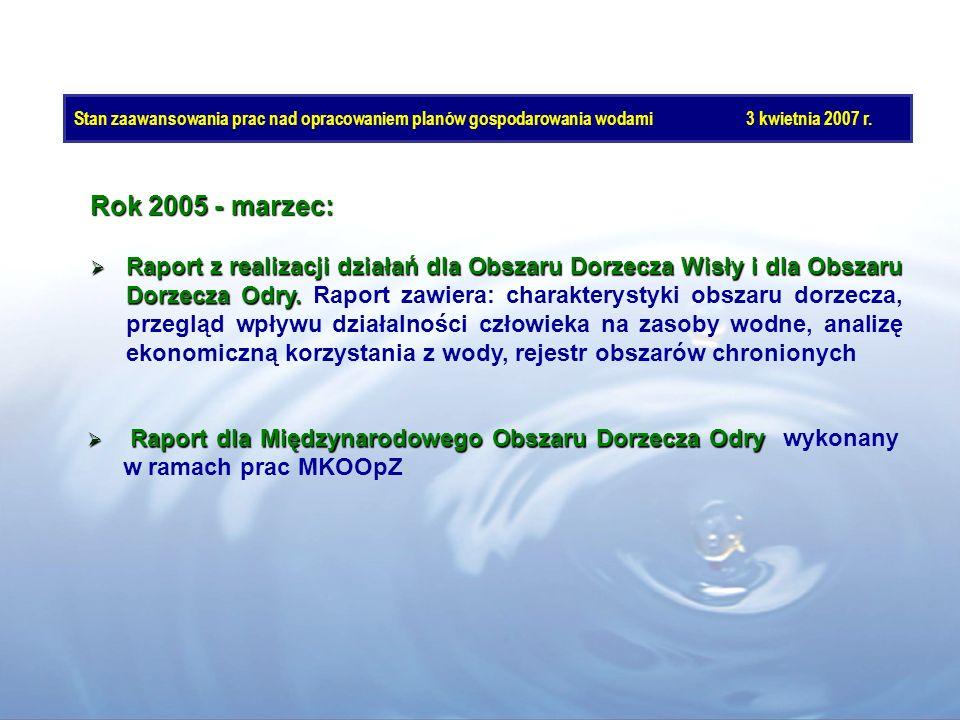 Stan zaawansowania prac nad opracowaniem planów gospodarowania wodami3 kwietnia 2007 r. Rok 2005 - marzec: Raport z realizacji działań dla Obszaru Dor
