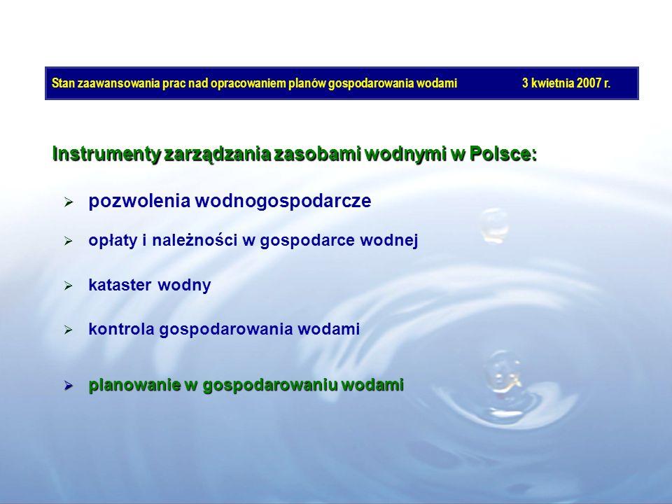 Stan zaawansowania prac nad opracowaniem planów gospodarowania wodami3 kwietnia 2007 r. pozwolenia wodnogospodarcze Instrumenty zarządzania zasobami w