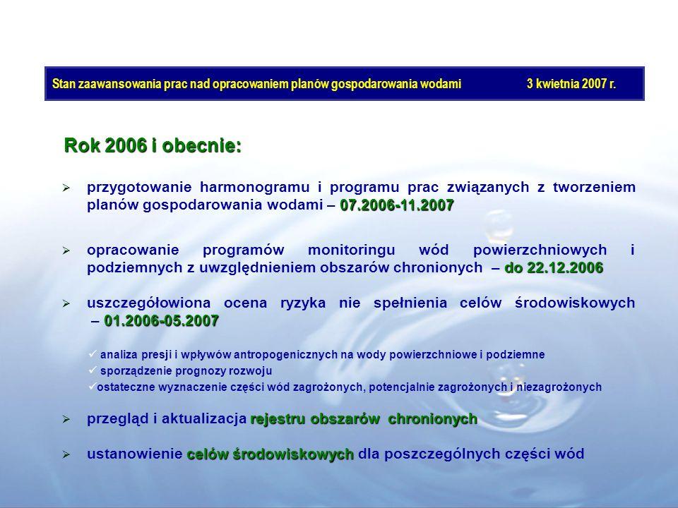Rok 2006 i obecnie: 07.2006-11.2007 przygotowanie harmonogramu i programu prac związanych z tworzeniem planów gospodarowania wodami – 07.2006-11.2007