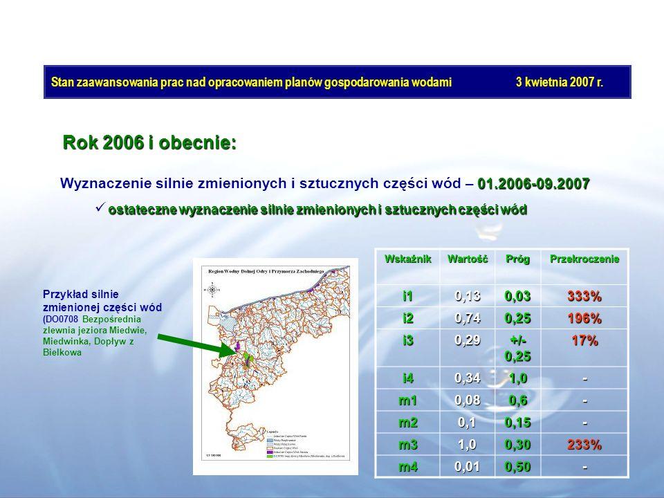 Rok 2006 i obecnie: 01.2006-09.2007 Wyznaczenie silnie zmienionych i sztucznych części wód – 01.2006-09.2007 ostateczne wyznaczenie silnie zmienionych