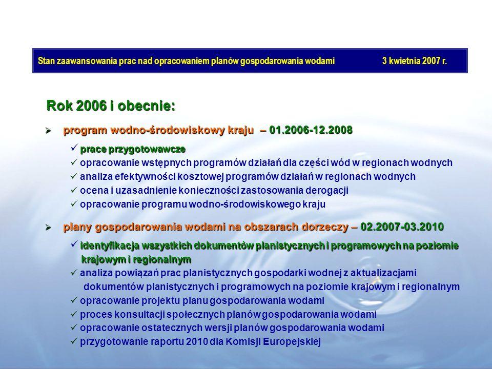 Rok 2006 i obecnie: program wodno-środowiskowy kraju – 01.2006-12.2008 program wodno-środowiskowy kraju – 01.2006-12.2008 plany gospodarowania wodami