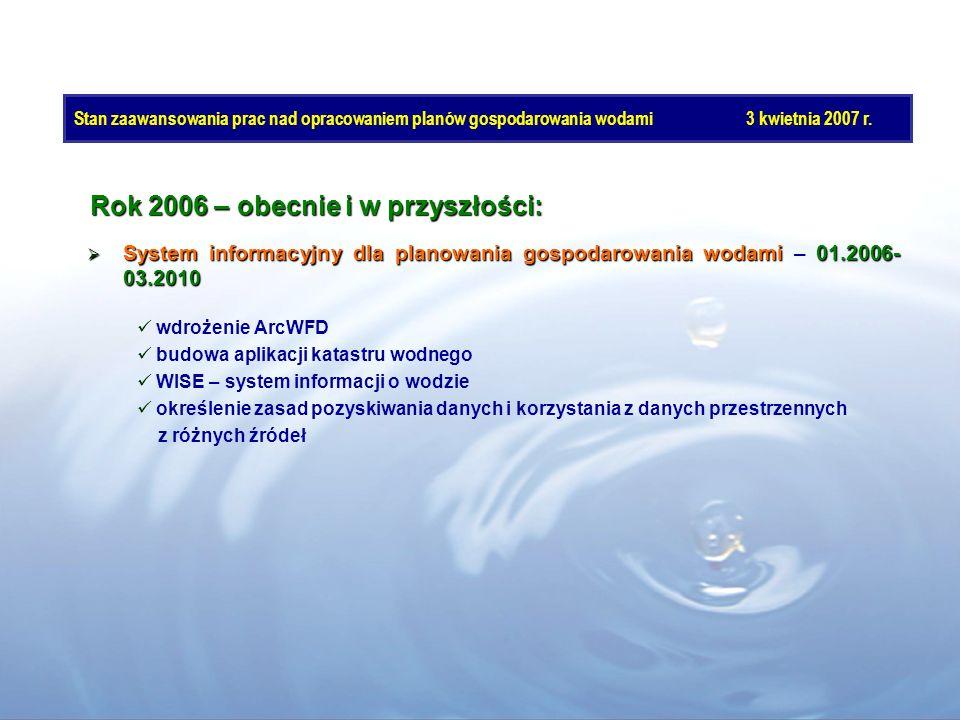 Rok 2006 – obecnie i w przyszłości: System informacyjny dla planowania gospodarowania wodami 01.2006- 03.2010 System informacyjny dla planowania gospo