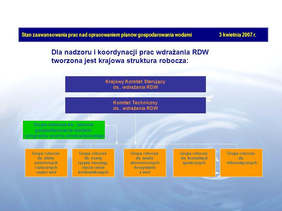 Dla nadzoru i koordynacji prac wdrażania RDW tworzona jest krajowa struktura robocza: Krajowy Komitet Sterujący ds.. wdrażania RDW Komitet Techniczny