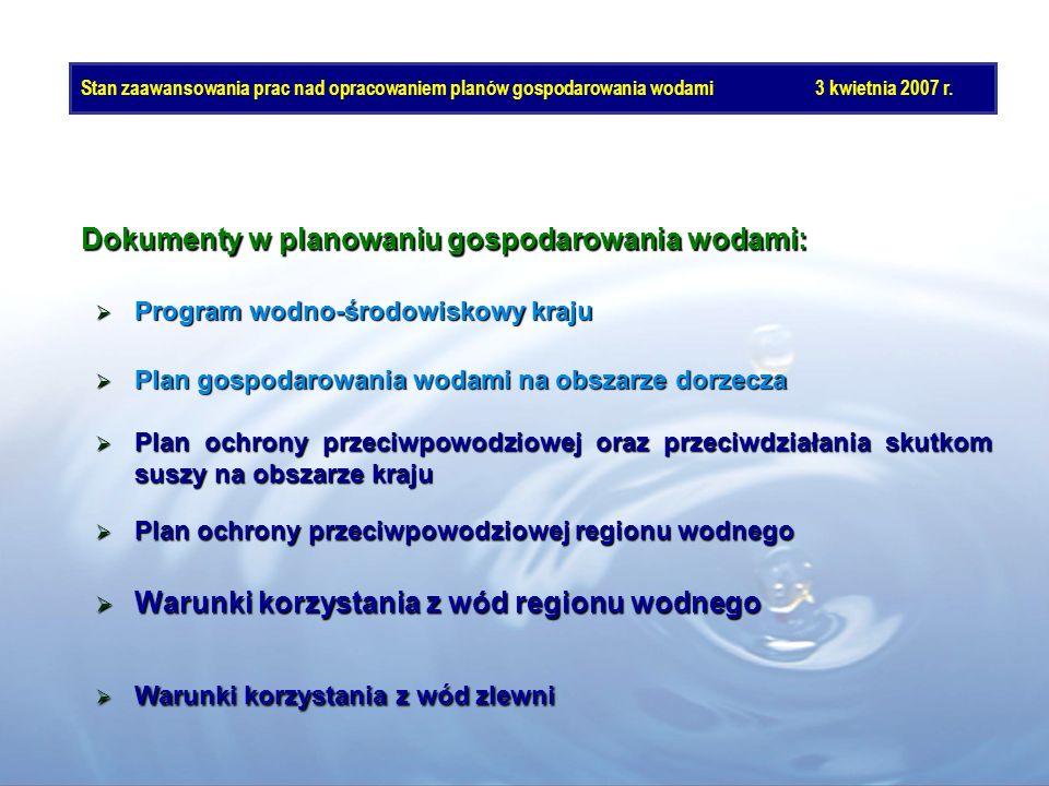Stan zaawansowania prac nad opracowaniem planów gospodarowania wodami3 kwietnia 2007 r. Warunki korzystania z wód regionu wodnego Warunki korzystania