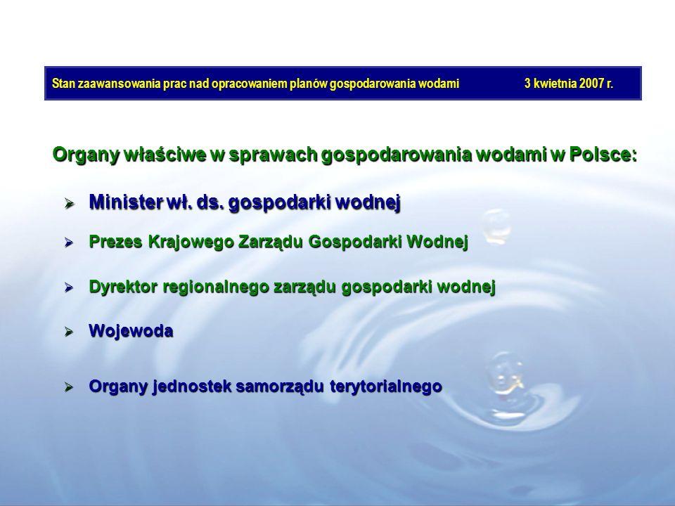 Stan zaawansowania prac nad opracowaniem planów gospodarowania wodami3 kwietnia 2007 r. Minister wł. ds. gospodarki wodnej Minister wł. ds. gospodarki