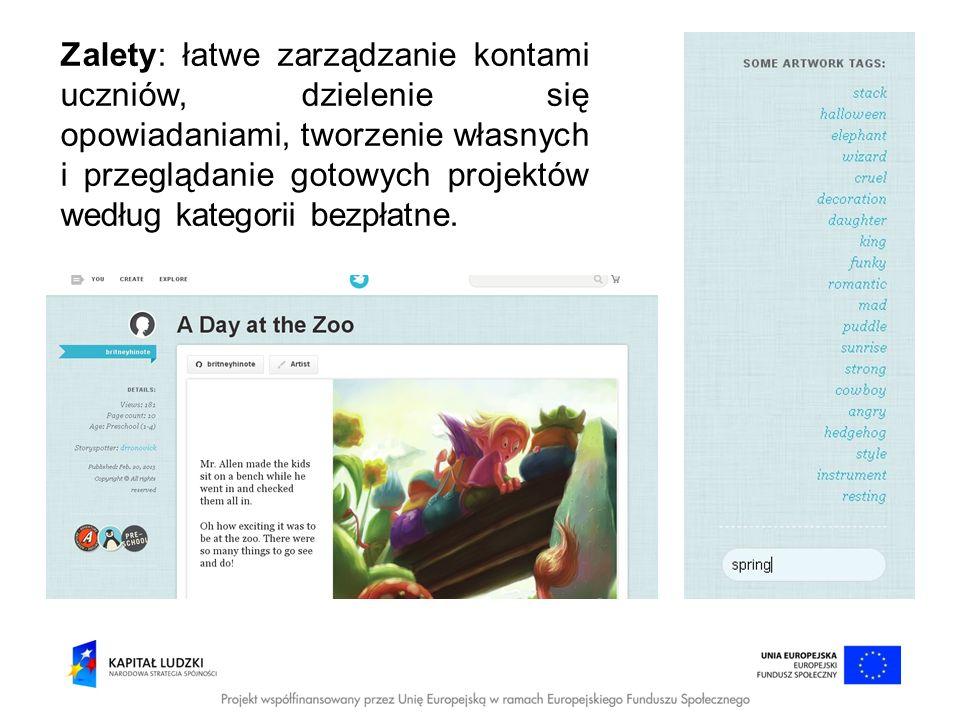 Wady: ściąganie projektów na komputer, druk np.: w PDF płatne.