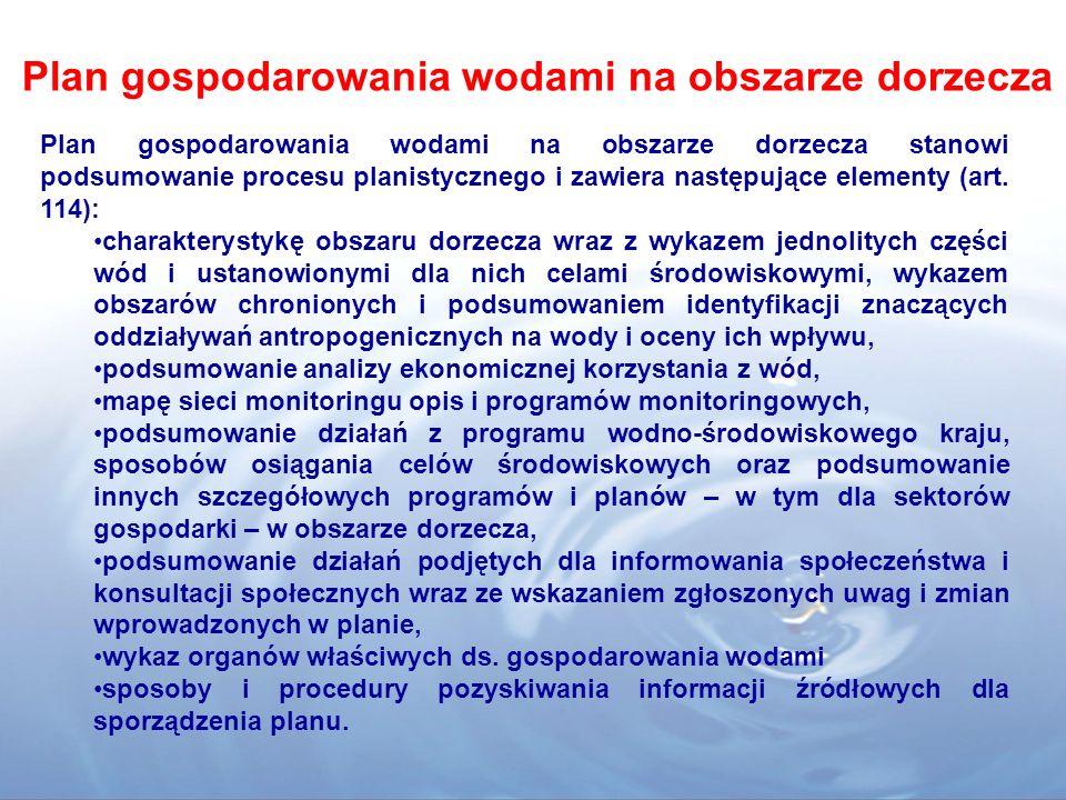 Plan gospodarowania wodami na obszarze dorzecza Plan gospodarowania wodami na obszarze dorzecza stanowi podsumowanie procesu planistycznego i zawiera następujące elementy (art.