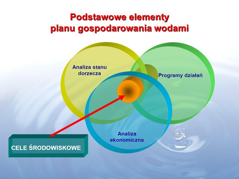 Podstawowe elementy planu gospodarowania wodami Programy działań Analiza stanu dorzecza Analiza ekonomiczna CELE ŚRODOWISKOWE