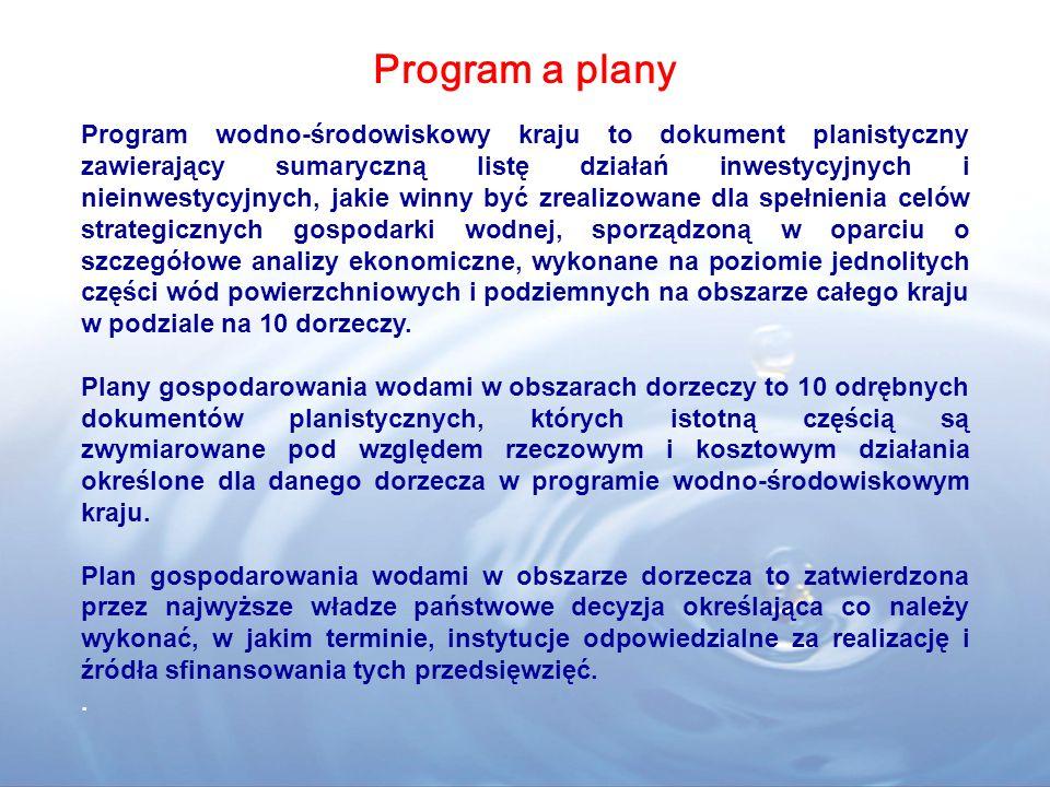 Program wodno-środowiskowy kraju to dokument planistyczny zawierający sumaryczną listę działań inwestycyjnych i nieinwestycyjnych, jakie winny być zrealizowane dla spełnienia celów strategicznych gospodarki wodnej, sporządzoną w oparciu o szczegółowe analizy ekonomiczne, wykonane na poziomie jednolitych części wód powierzchniowych i podziemnych na obszarze całego kraju w podziale na 10 dorzeczy.