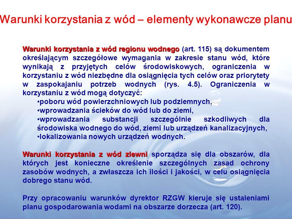 Warunki korzystania z wód regionu wodnego Warunki korzystania z wód regionu wodnego (art. 115) są dokumentem określającym szczegółowe wymagania w zakr