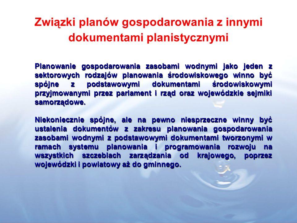 Związki planów gospodarowania z innymi dokumentami planistycznymi Planowanie gospodarowania zasobami wodnymi jako jeden z sektorowych rodzajów planowania środowiskowego winno być spójne z podstawowymi dokumentami środowiskowymi przyjmowanymi przez parlament i rząd oraz wojewódzkie sejmiki samorządowe.