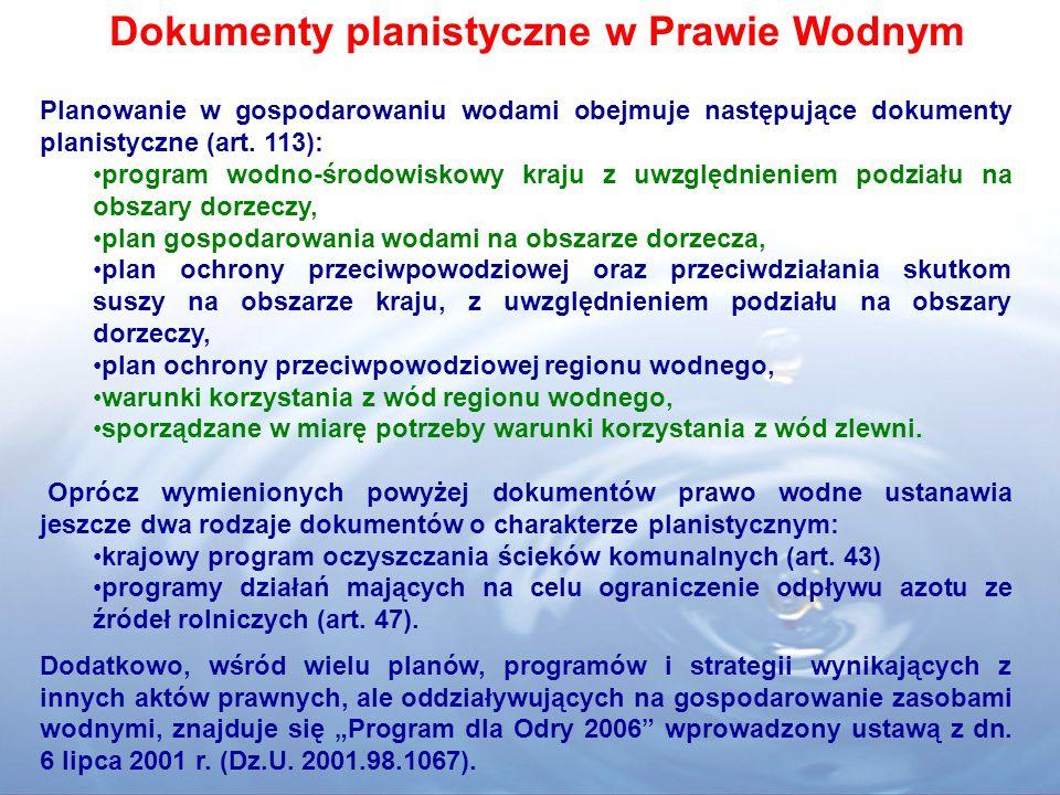 Dokumenty planistyczne w Prawie Wodnym Planowanie w gospodarowaniu wodami obejmuje następujące dokumenty planistyczne (art. 113): program wodno-środow