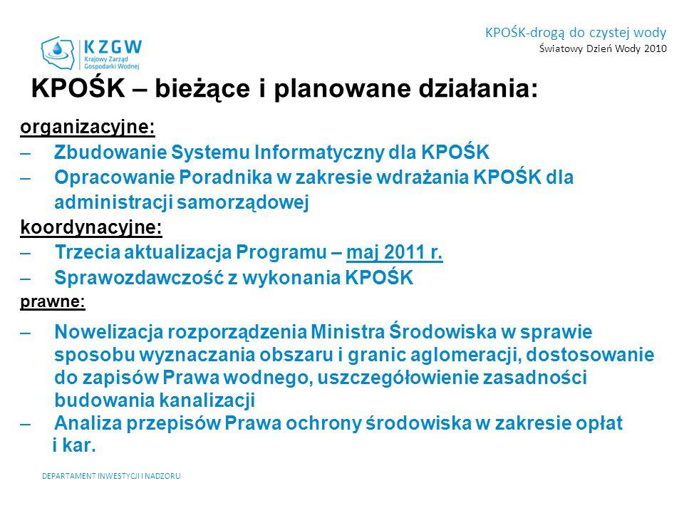 KPOŚK-drogą do czystej wody Światowy Dzień Wody 2010 DEPARTAMENT INWESTYCJI I NADZORU KPOŚK – bieżące i planowane działania: organizacyjne: –Zbudowani