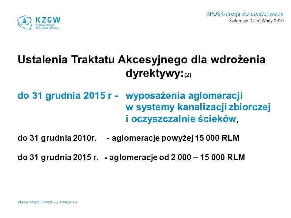 DEPARTAMENT INWESTYCJI I NADZORU KPOŚK-drogą do czystej wody Światowy Dzień Wody 2010 Ustalenia Traktatu Akcesyjnego dla wdrożenia dyrektywy: (2) do 3