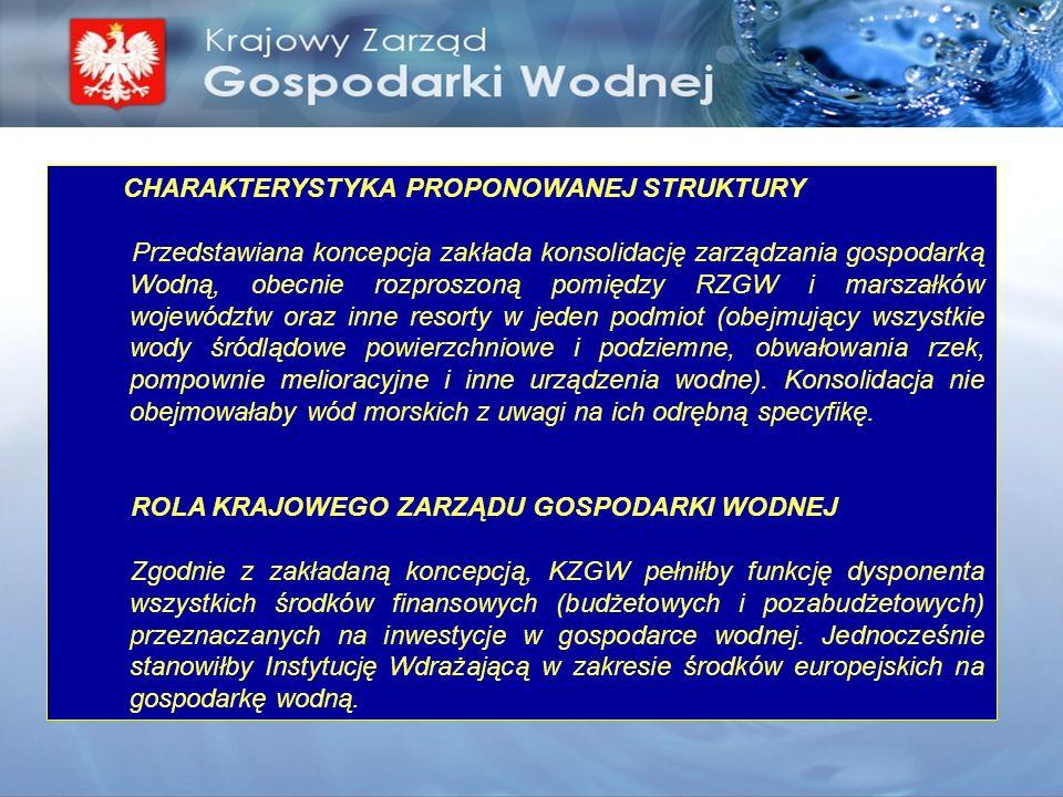 CHARAKTERYSTYKA PROPONOWANEJ STRUKTURY Przedstawiana koncepcja zakłada konsolidację zarządzania gospodarką Wodną, obecnie rozproszoną pomiędzy RZGW i