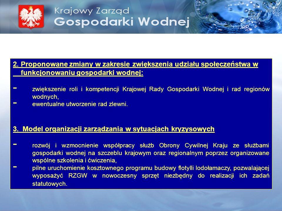 2. Proponowane zmiany w zakresie zwiększenia udziału społeczeństwa w funkcjonowaniu gospodarki wodnej: - zwiększenie roli i kompetencji Krajowej Rady