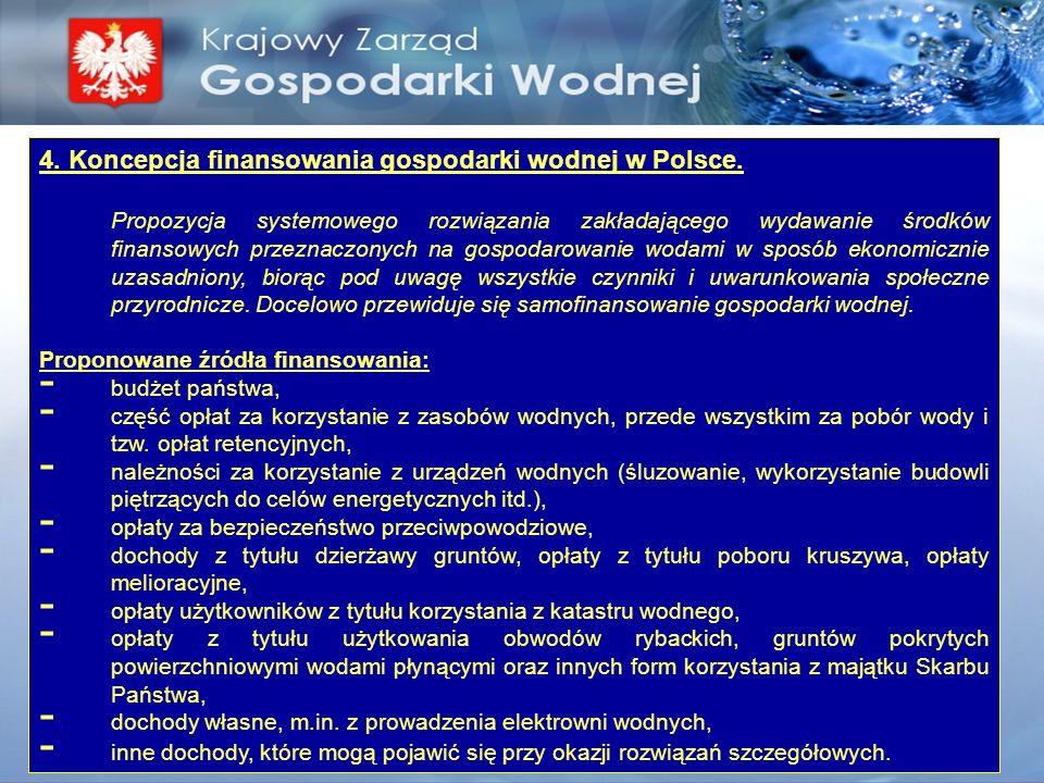 4. Koncepcja finansowania gospodarki wodnej w Polsce. Propozycja systemowego rozwiązania zakładającego wydawanie środków finansowych przeznaczonych na