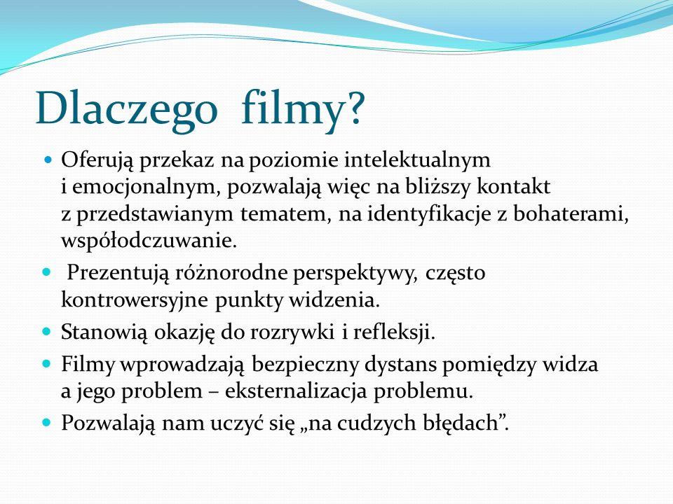 Dlaczego filmy? Oferują przekaz na poziomie intelektualnym i emocjonalnym, pozwalają więc na bliższy kontakt z przedstawianym tematem, na identyfikacj