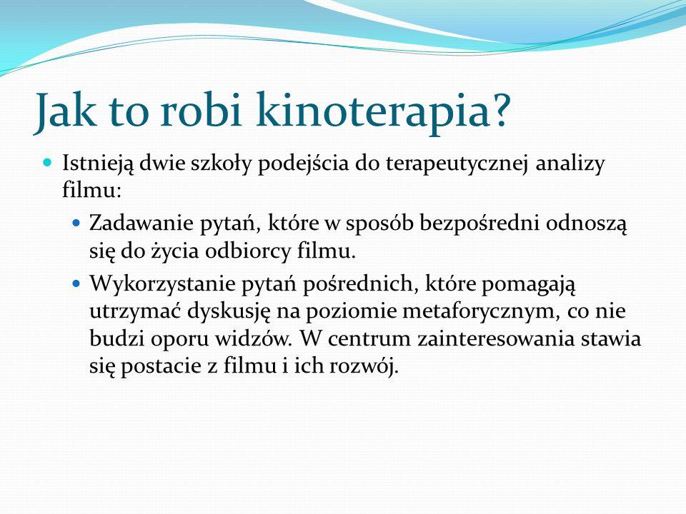 Jak to robi kinoterapia? Istnieją dwie szkoły podejścia do terapeutycznej analizy filmu: Zadawanie pytań, które w sposób bezpośredni odnoszą się do ży