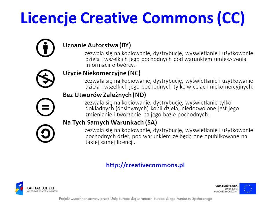 Licencje Creative Commons (CC) Uznanie Autorstwa (BY) zezwala się na kopiowanie, dystrybucję, wyświetlanie i użytkowanie dzieła i wszelkich jego pocho