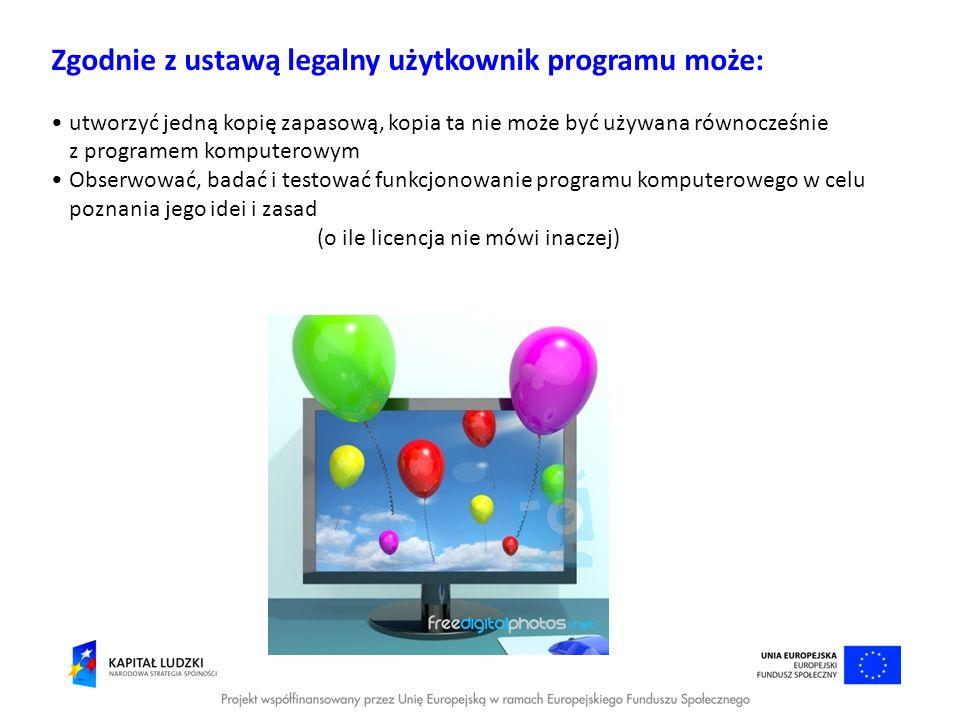 Zgodnie z ustawą legalny użytkownik programu może: utworzyć jedną kopię zapasową, kopia ta nie może być używana równocześnie z programem komputerowym