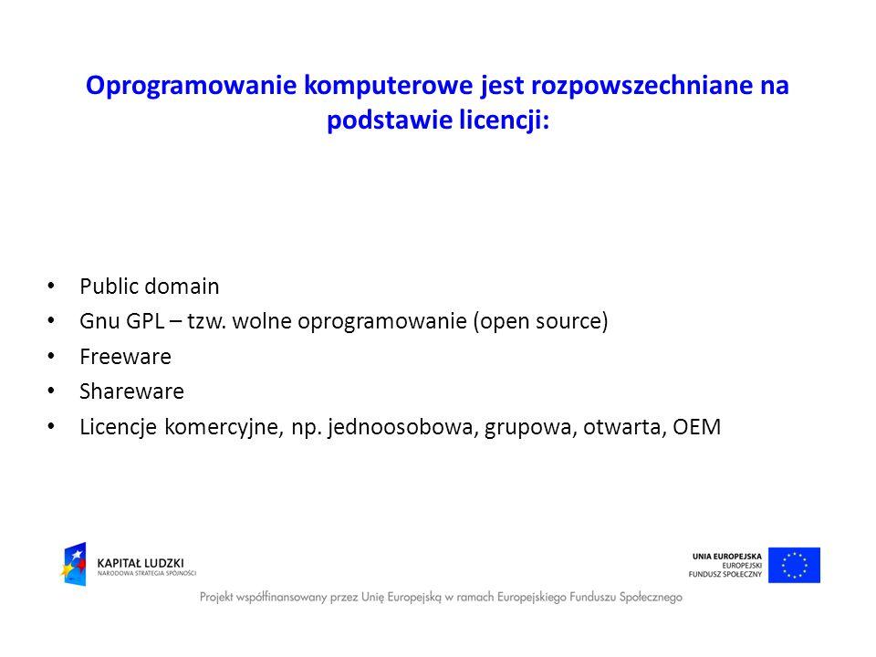Oprogramowanie komputerowe jest rozpowszechniane na podstawie licencji: Public domain Gnu GPL – tzw. wolne oprogramowanie (open source) Freeware Share