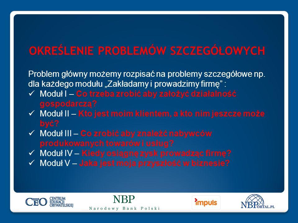 OKREŚLENIE PROBLEMÓW SZCZEGÓŁOWYCH Problem główny możemy rozpisać na problemy szczegółowe np.