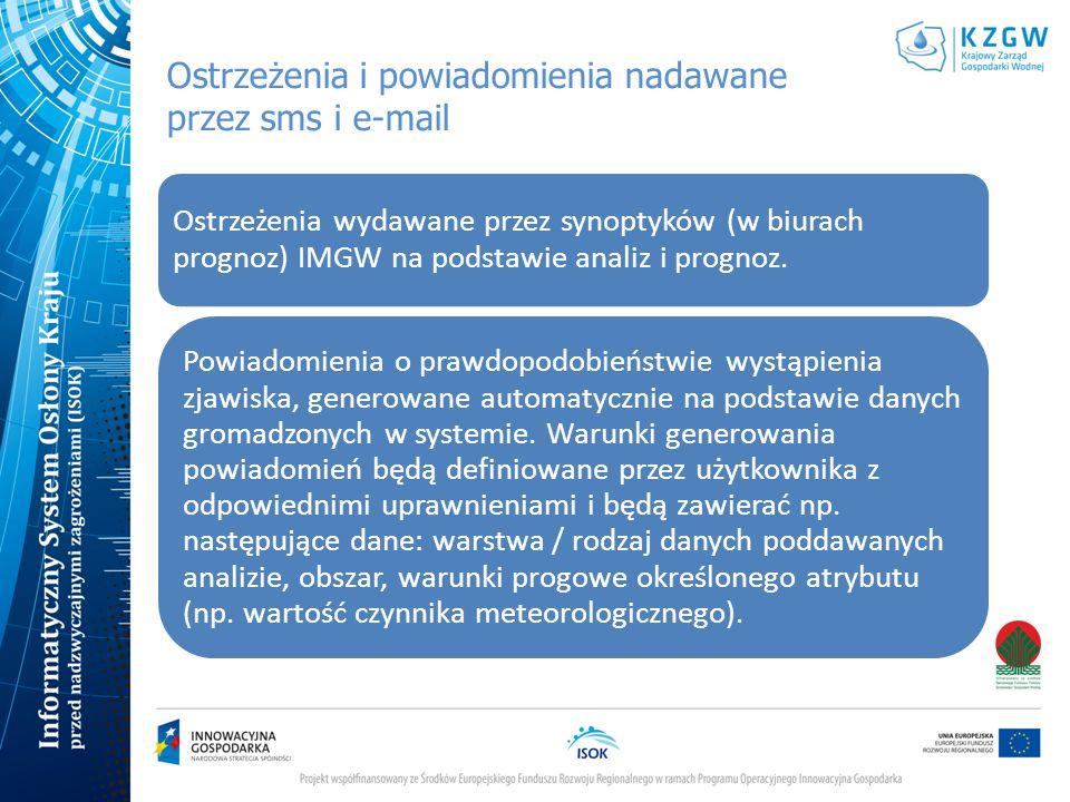 Ostrzeżenia i powiadomienia nadawane przez sms i e-mail Ostrzeżenia wydawane przez synoptyków (w biurach prognoz) IMGW na podstawie analiz i prognoz.